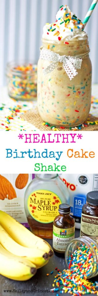 This creamy, sweet, and fun Birthday Cake Protein Shake will fuel your morning! Best yet, it's HEALTHY but you'll never know because it tastes just like DESSERT! There is a trick to getting the thick and creamy consistency but there is NO DAIRY!