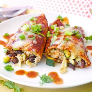 Chicken, Zucchini and Corn Enchiladas {Gluten-Free, Grain-Free Option}