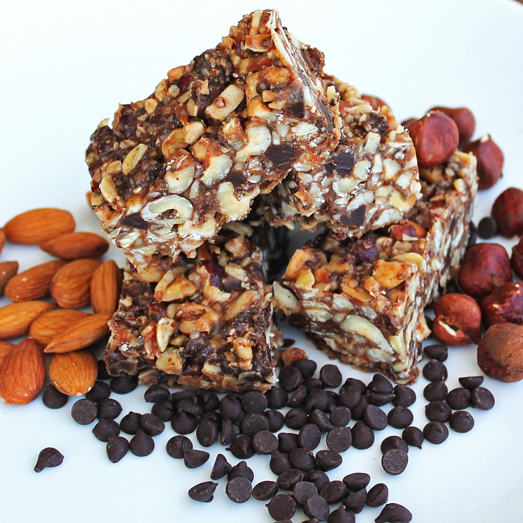 Chocolate Hazelnut No Bake Bars