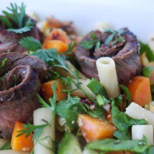 Grilled Steak & Veggie Pasta Salad {Gluten-Free}