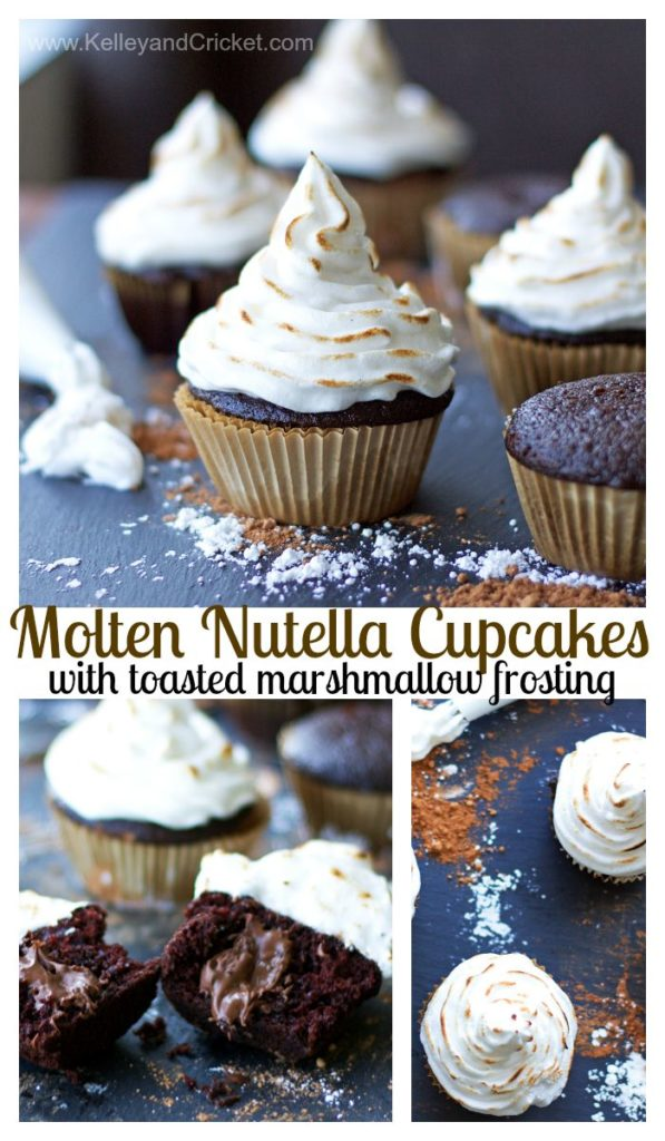 "These Molten Chocolate-Hazelnut Stuffed Cupcakes are topped with fluffy Toasted Marshmallow Frosting! There is no better combination that this, trust me! You can male these BAKERY-STYLE cupcakes too- they're easy! The cupcake is fluffy and moist and the molten ""nutella"" center oozes out on first bite! This recipe contains a traditional version and a bonus grain-free/paleo/gluten-free version."