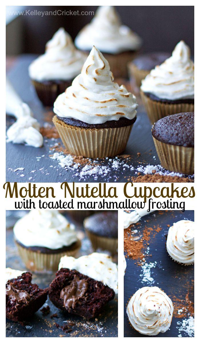 Molten Chocolate-Hazelnut Stuffed Cupcake with Toasted ...
