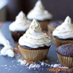 Molten Chocolate-Hazelnut Stuffed Cupcake with Toasted Marshmallow Frosting {Grain-Free Option}