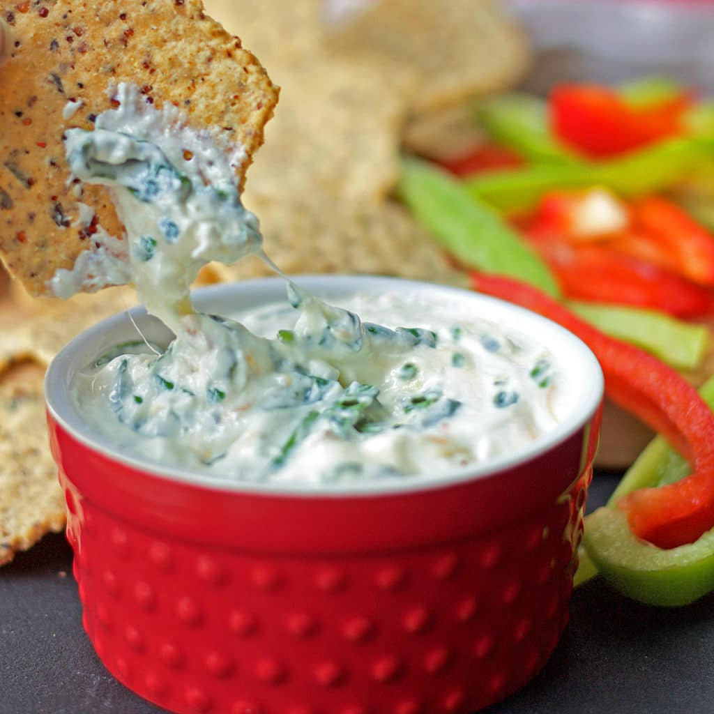 lightened-up version of spinach artichoke dip with added kale. All ...