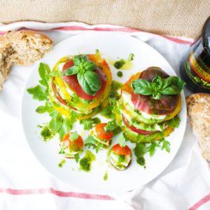 Tomato, Avocado, Mozzarella & Arugula Stack Salad