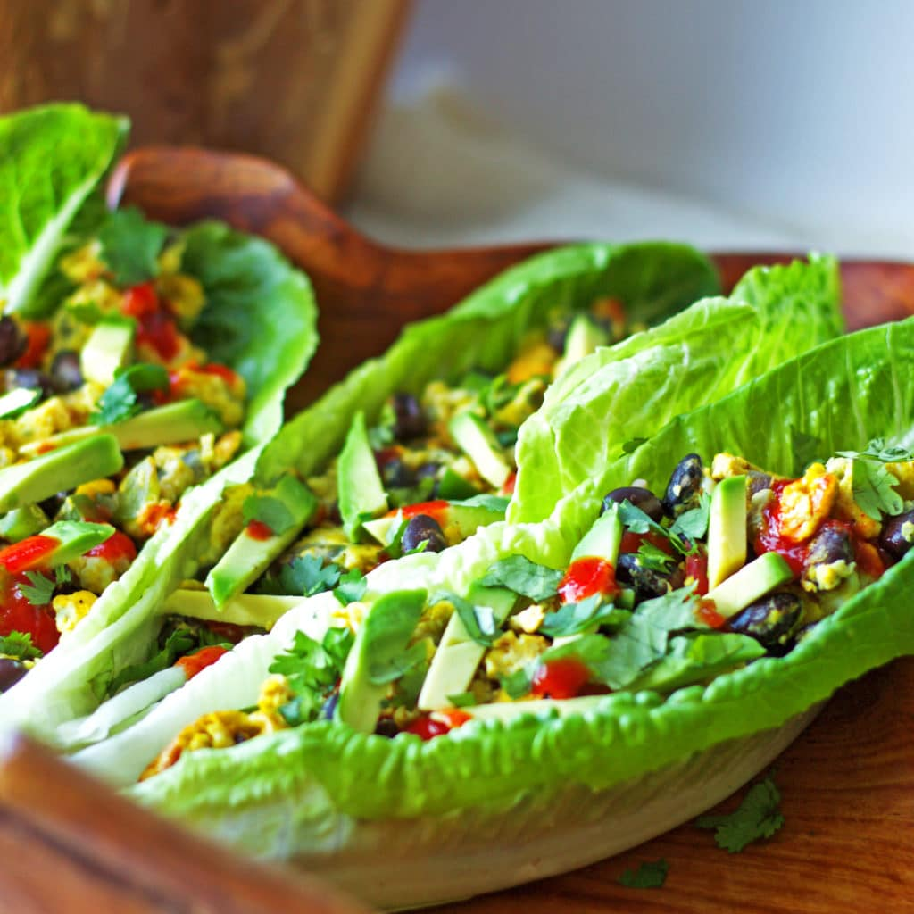 quick Southwest Scramble Lettuce Wraps are stuffed with scrambled eggs ...