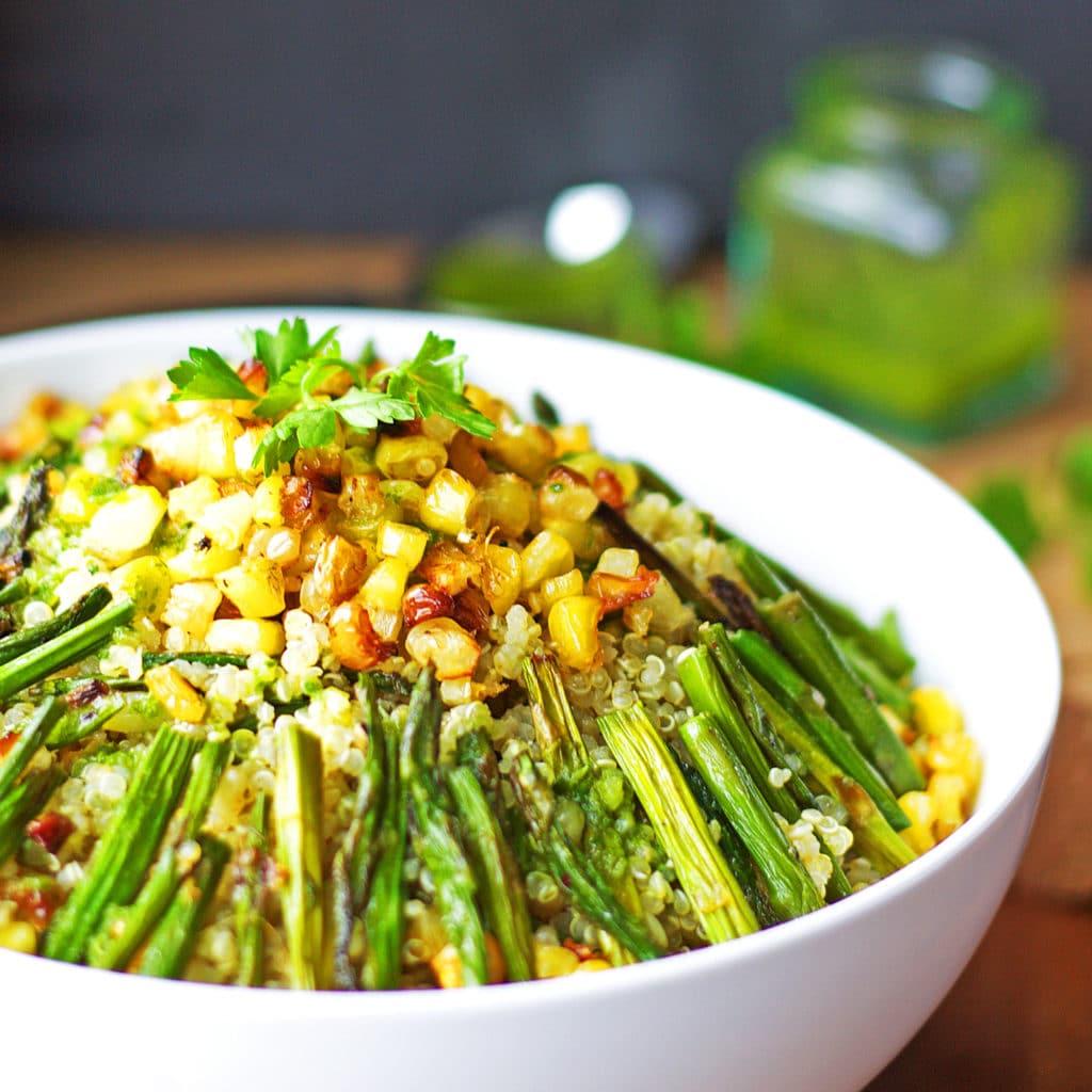 Charred Asparagus, Popped Corn & Quinoa Salad with Lemon Parsley Dressing