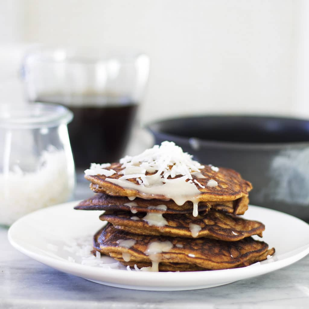 Pumpkin Pancakes with Maple Coconut Butter Drizzle {Pegan-Paleo-Grain Free}