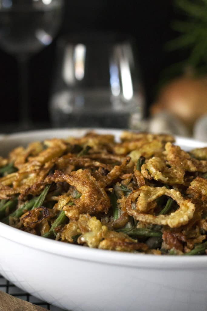 This Green Bean Casserole is so creamy and crunchy (thanks to the homemade French Fried Onions) and better than the original! You'll never guess it's gluten-free, grain-free, dairy-free, and paleo! (Yes, the Cream of Mushroom Soup recipe is Dairy Free!)