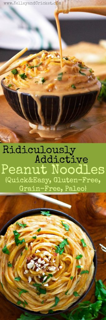 These ridiculously addictive peanut noodles are so good you won't be able to stop eating them, but don't worry- they are super healthy! Gluten-free, grain-free, and paleo they make a super quick and nutritious lunch and are ready in under 15 minutes!
