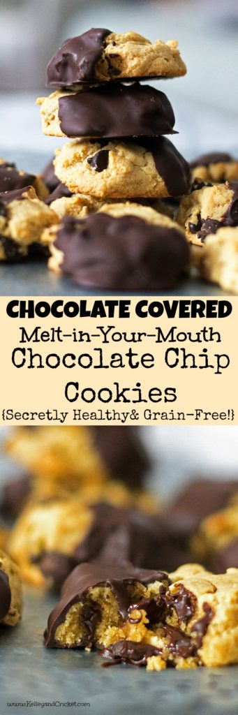 This is the my ALL TIME FAVORITE secretly healthy chocolate chip cookie recipe.These Chocolate-Dipped Chocolate Chip cookies taste like the real thing. In fact, they are so much better (and better for you)! They are soft and moist on the inside thanks to a combination of ingredients that allow them to stay plump and thick. They melt right in your mouth! The best part is that they are dipped in chocolate, because the only thing better than a chocolate chip cookie is a chocolate chip cookie with EXTRA Chocolate, right? {Grain-free, Gluten-free, Paleo, Pegan}