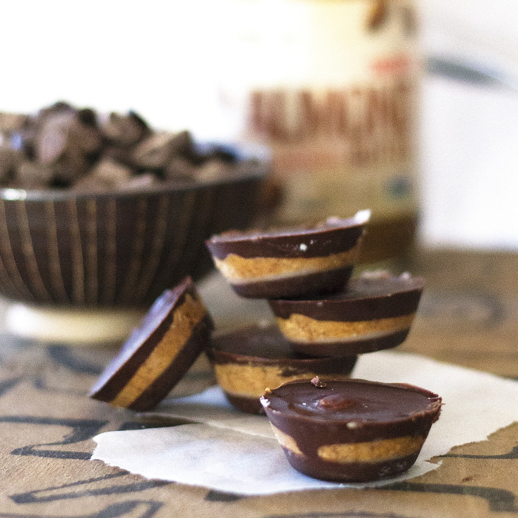 These tasty melt-in-your-mouth cups are for all you Reese's Peanut Butter Cup lovers out there. The super creamy almond butter pairs perfectly with the rich dark chocolate shell making a flavor explosion that will satisfy your deepest chocolate desires. Best part of all they are GOOD for YOU! Dairy-free, paleo, gluten-free and grain free. They are super easy to make with just 4 simple ingredients!
