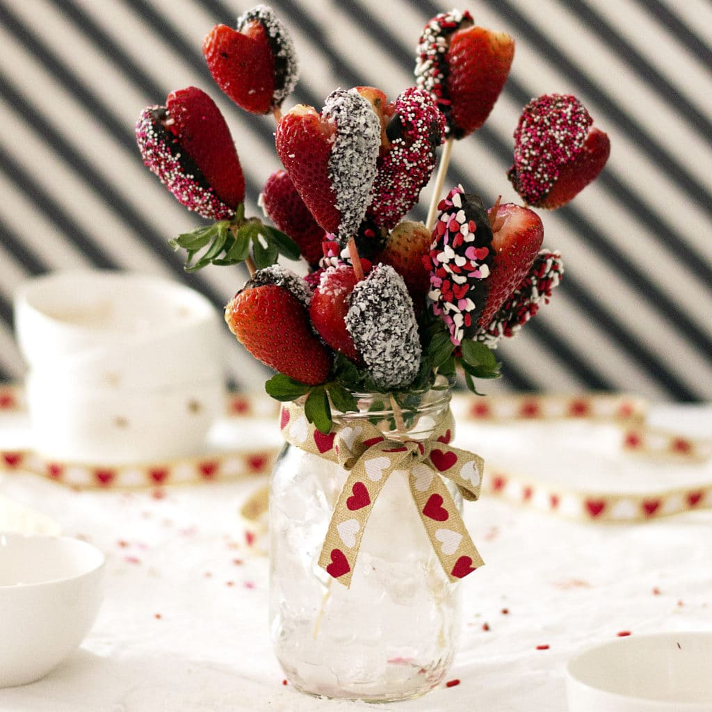 Marshmallow Chocolate Covered Strawberry Heart Bouquet With Pink