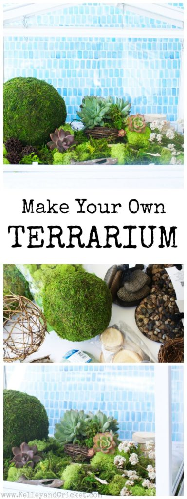 Make your own beautiful terrarium. This super easy step by step tutorial will show you exactly how to make this vibrant green work of art. It required very little to no maintenance and will look amazing for years to come!
