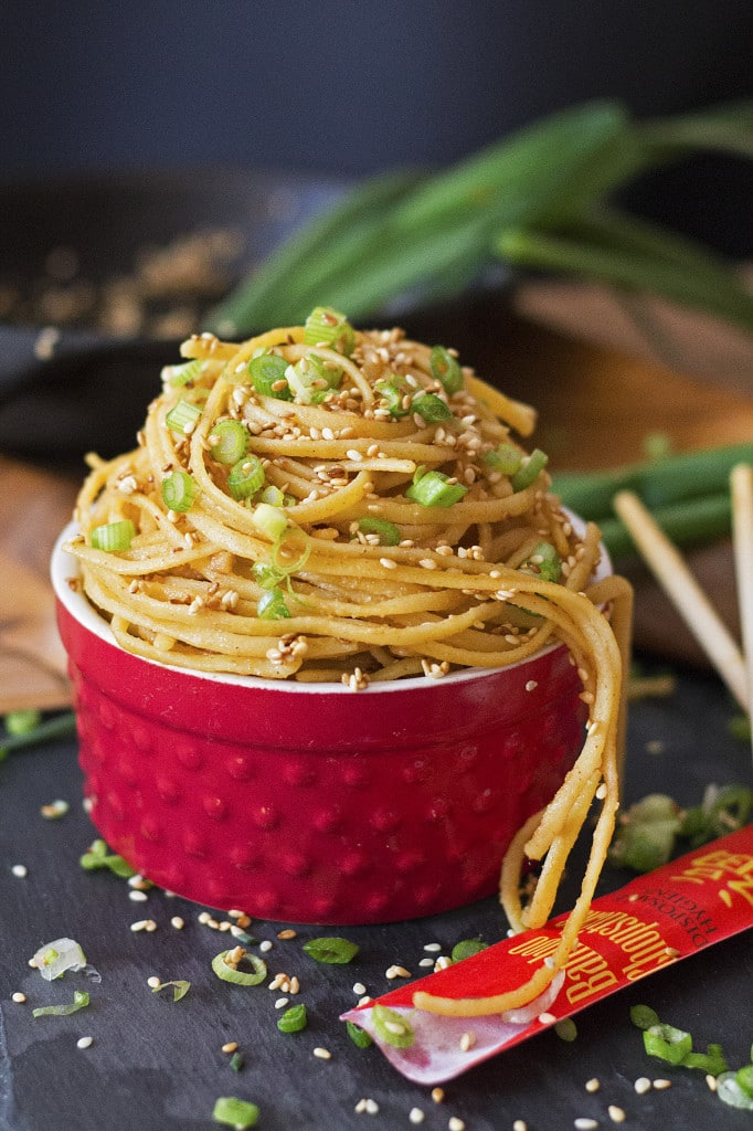 These Toasted Sesame Noodles are a flavor explosion of nutty, buttery, rich goodness! And they are so very, very addictive! The toasted sesame seeds are the highlight of this dish with a rich nutty flavor, and the noodles are saturated with a light flavorful sauce making an amazing flavor combination. Best of all the dish is crazy simple and quick to make. It just takes a few simple ingredients and 15 minutes or less! There is a recipe adaptation for every diet including traditional, gluten-free, grain-free, paleo, pegan and vegan! Everyone can partake in noodle joy!!
