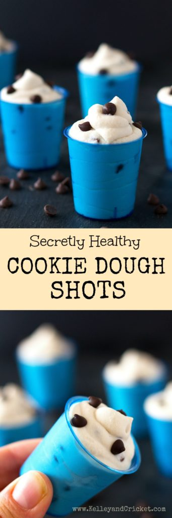 These Cookie Dough Shots are secretly healthy but taste like creamy and rich cookie dough flavored frosting! They are ridiculously easy to make, and too cute :) A special combination of ingredients adds to create an exceptional cookie dough flavor, complete with mini dark chocolate chips. They make a great pick me up, providing energy with healthy fats and protein (optional)! {Grain-free, Gluten-free, Dairy-free, Paleo, Vegan, Pegan}