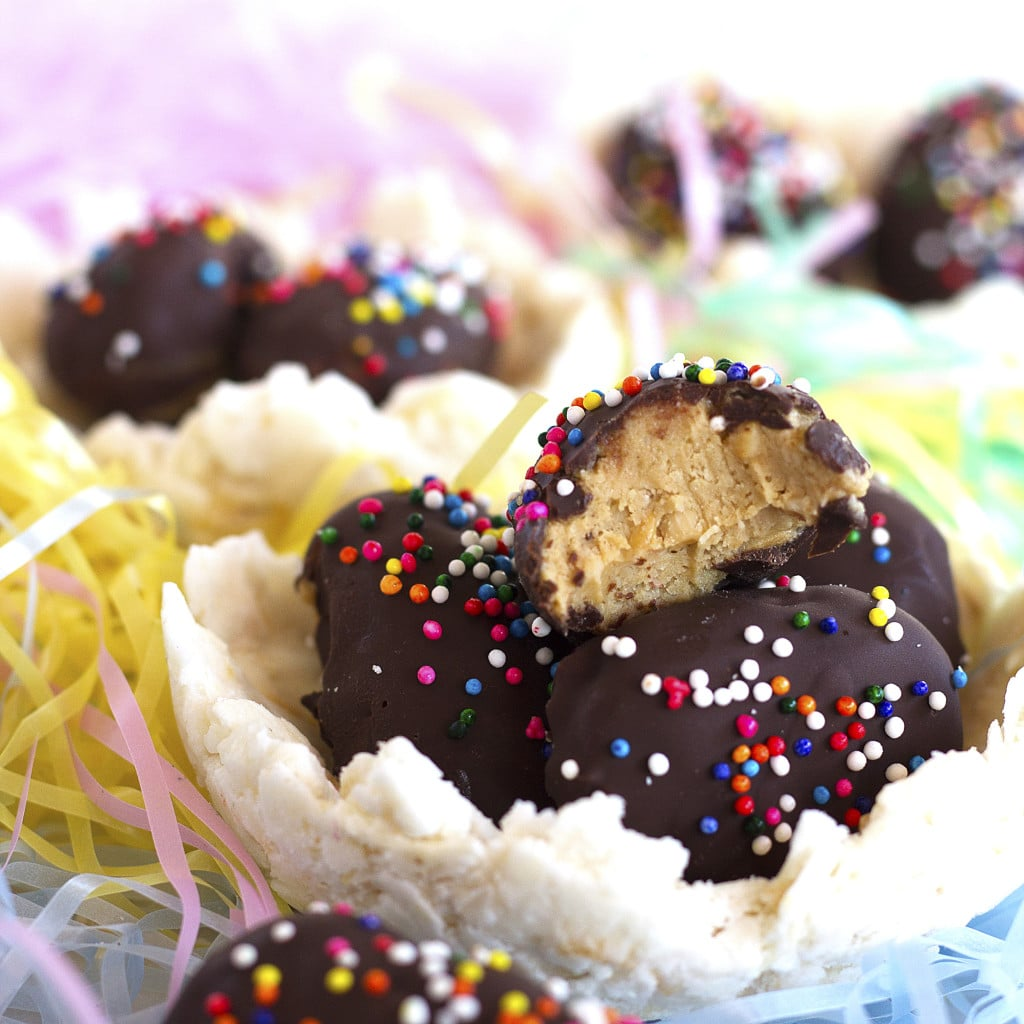 Easter is almost here, but do not fear, you can make your own {healthy} candy this year! These Peanut Butter Speckled Eggs are cute and delicious and they even come with their own edible coconut nest. Everyone can partake in Easter candy indulging because they are gluten and grain-free, dairy-free, paleo, vegan, and refined sugar-free.