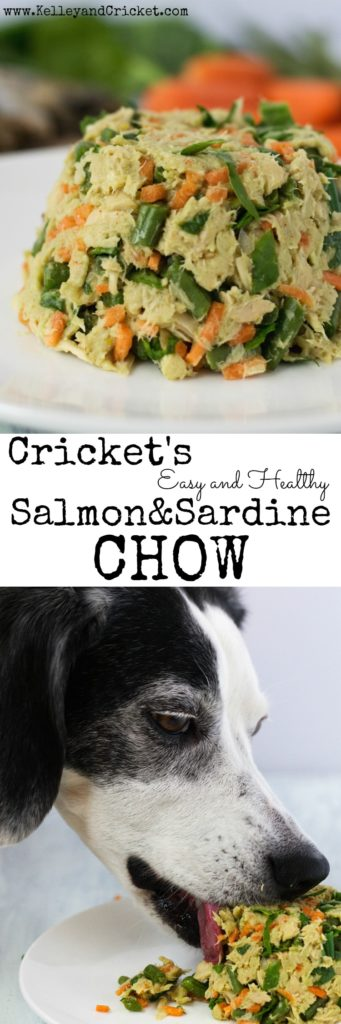 Cricket's Salmon and Sardine Chow is an easy, no cooking required, and super healthy meal you can make for your pup! Salmon and sardines are loaded with omega-3 fatty acids to help reduce inflammation and promote healthy joints, skin and coat! This meal takes a few short minutes to make for your pup and you can customize it using your doggie's favorite veggies!