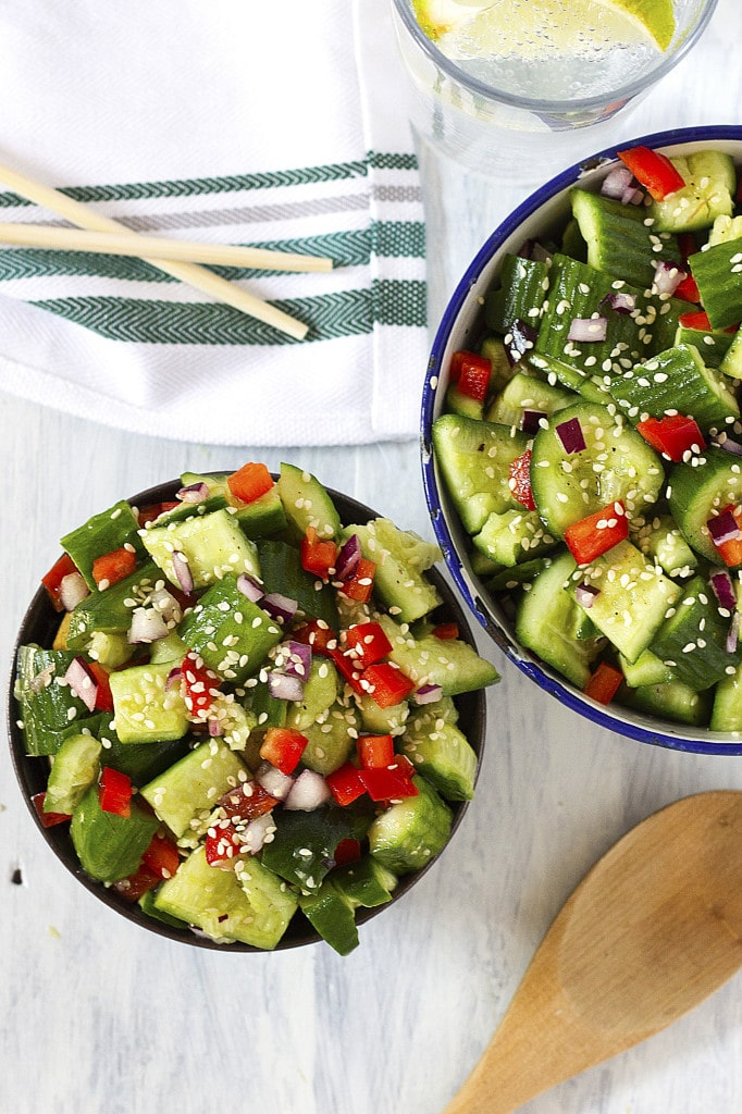 This super easy, fresh, zesty and crunchy salad makes the perfect addition to any meal! The fancy-shmancy smashed cucumbers are dressed up in a tangy and subtlety sweet dressing and sprinkled with generous amounts of nutty sesame seeds. Yummy! Bring this easy salad to your next party/picnic/BBQ and you'll be the star!