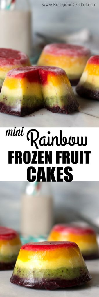 These mini Rainbow Frozen Fruit Cakes are simply stunning! In addition to being beautiful, they are made with 100% fruit and nothing else, making them a healthy and nutritious dessert.