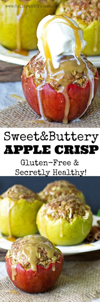 This apple crisp is light and healthy, but packs a flavor punch and looks great too. The fresh apples are topped with a sweet and buttery crisp topping that makes your mouth smile! Gluten-free, paleo and vegan recipe options.