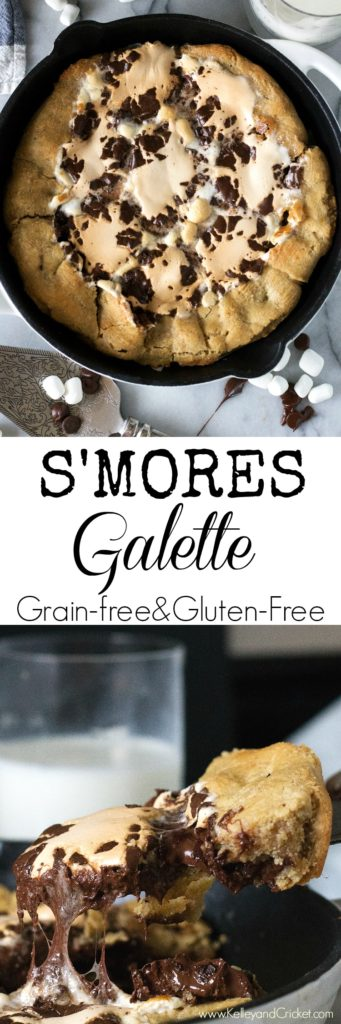 This richly indulgent S'mores Galette is stuffed with ooey gooey melted dark chocolate and fluffy toasted marshmallows! It is so simple to make, but so extravagant. It is sure to wow your dinner guests. They will never guess it's gluten free, grain free, and paleo!
