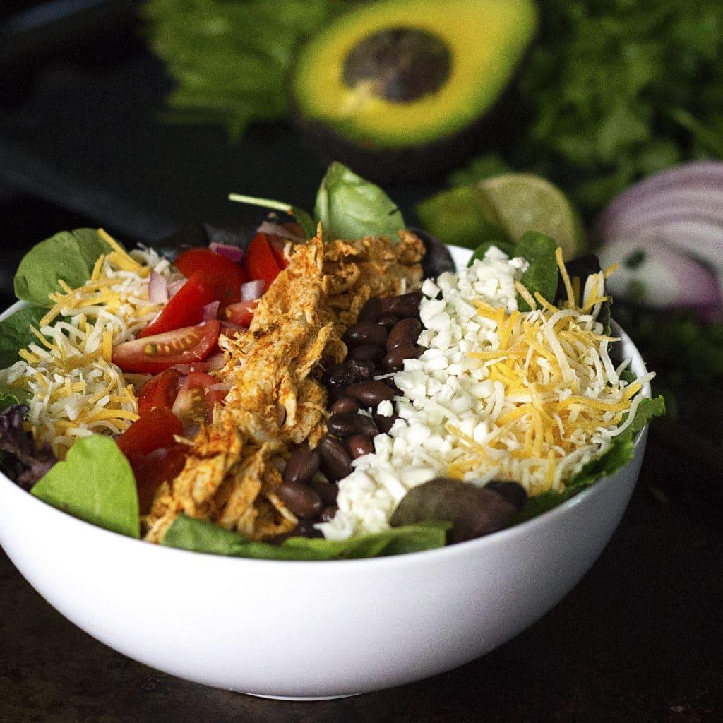 Chipotle Chicken Burrito Bowl Salad Kelley And Cricket
