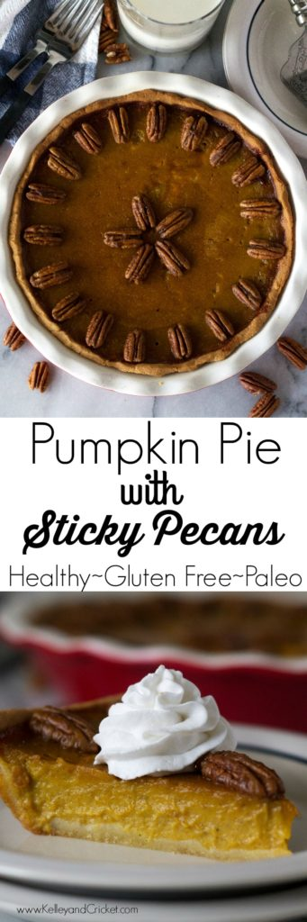 This perfect Pumpkin Pie with Sticky Pecans will stun you with its beauty and win you over with its taste! Its creamy sweet pumpkin filling pairs nicely with some fluffy coconut whip cream-yum! Your guests will never ever guess it's gluten free, grain free, paleo, and healthy! Your holiday spread will not be complete without this one!
