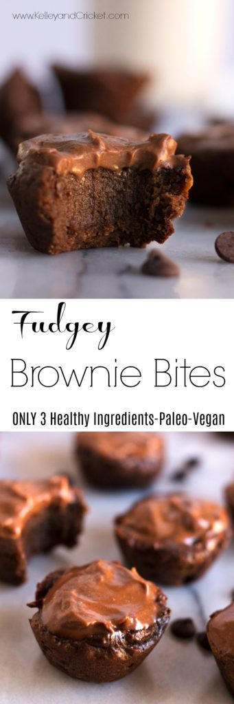 These dense chocolatey bite-sized Fudgey Brownie Bites and the perfect option to curb your sweet tooth. Made with ONLY 3 whole food ingredients with no added sugar, they have a healthy dose of protein for a late afternoon pick-me-up or breakfast if you so wish! The only take 5 minutes to make, bake them or chill them (your choice) then indulge to your heart's content! Paleo, Vegan, and Gluten Free.